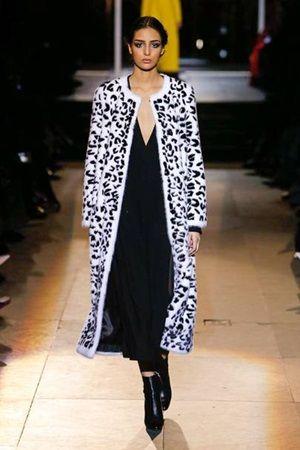 how to wear animal print long fur coat
