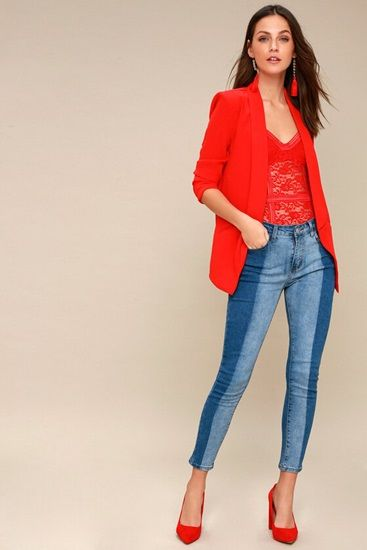 Wear Bright Colored Blazers: The Striking Red