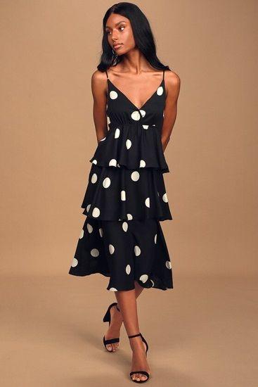 Black and White Polka Dot Tiered Midi Dress
