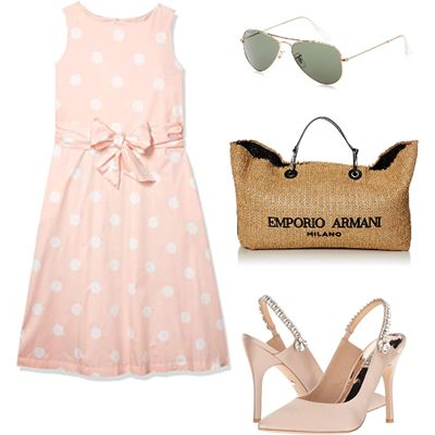 feminine pink poka dot outfit