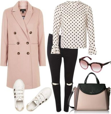 pastel pink coat with monochromes outfit