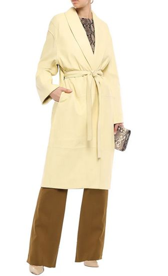 pastel yellow coat outfit