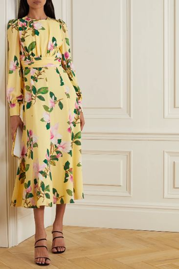 pastel yellow floral print dress