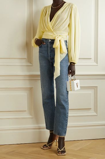 pastel yellow top with jeans outfit