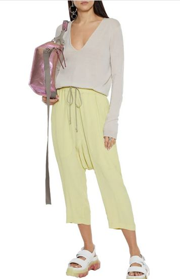 pastel yellow track pants