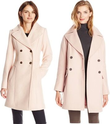 wear pastel colors in winter - pastel pink double breasted coat