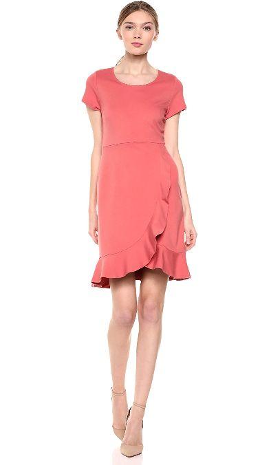 ruffled ponte shift dress