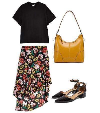 Black Floral High Low Skirt  Black t-Shirt