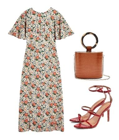 Casual summer outfit ideas: Daisy Print Angel Sleeve Midi Dress