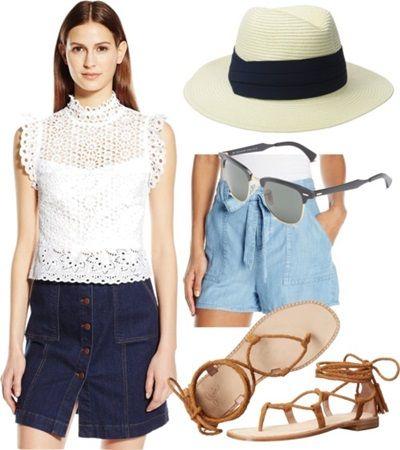 Flirty Crop Lace Top + Chambray Shorts
