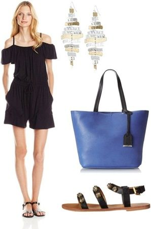 Casual summer outfit ideas: Jersey Cold Shoulder Romper