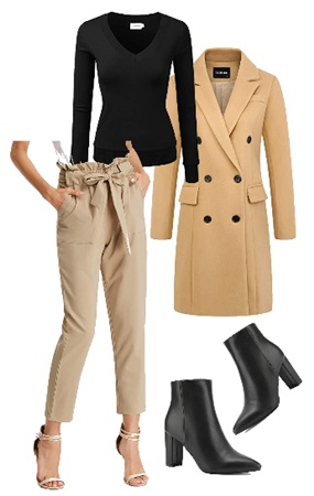 Paper bag pants outfit for winter