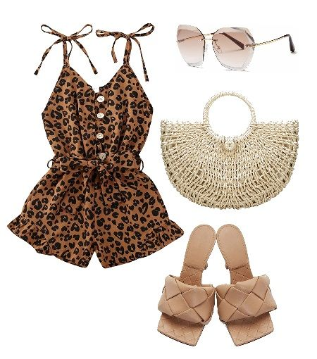 Casual summer outfit ideas: All Neutral animal print romper outfit