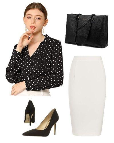 black-white-polka-dot-shirt-work-outfit