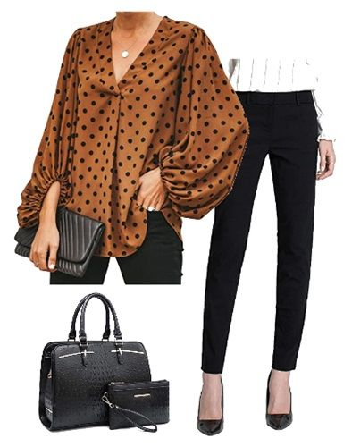 brown-dotted-shirt-with-balloon-sleeves-outfit-for-work