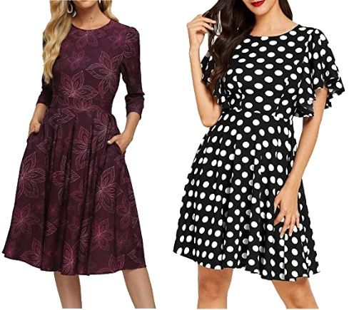 fit-and-flare-dresses worn with ponytail