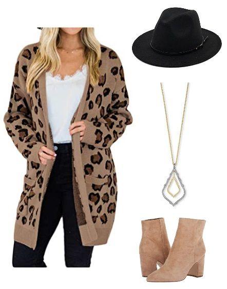 how to wear leopard print cardigan sweater