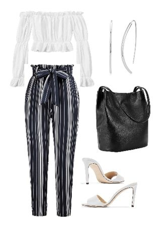 Striped Paper Bag Pants with Crop Top