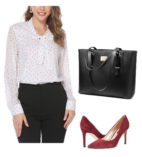 white-dotted-shirt-with-black-slacks-work-outfit