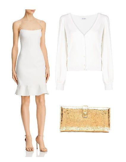 White slip dress under a white cardigan