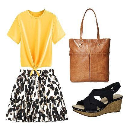 Yellow t-shirt and animal print mini skirt