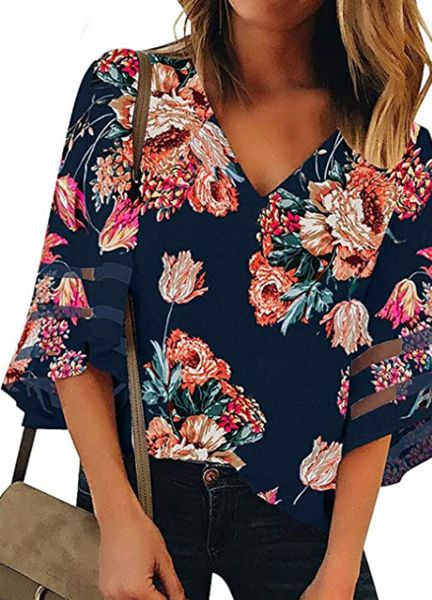 Bell Sleeve V Neck Lace Patchwork Floral Blouse Casual Loose Shirt Top
