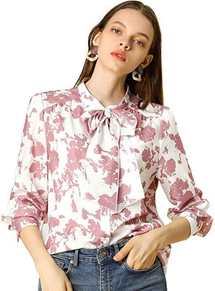 Boho Floral Printed Shirts V Neck Pussy Bow Bluse Top