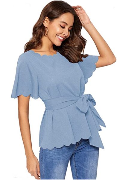 Bow Self Tie Scalloped Cut Out Short Sleeve Elegant Office Work Top