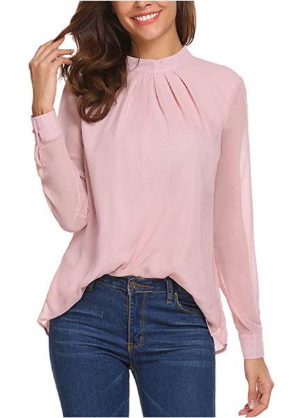 Chiffon Blouse Women Loose Casual Long Sleeve Top