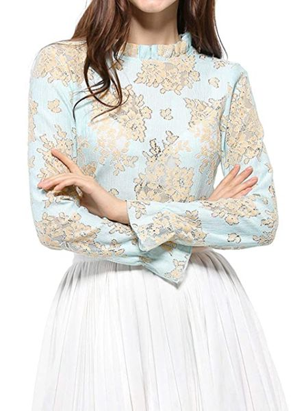 Feminine Tops to Wear with Jeans: Lace See Through Ruffle Top
