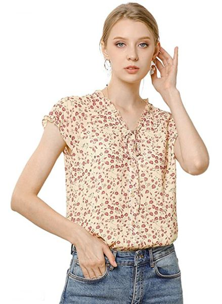 Feminine Tops to Wear with Jeans: Floral Print Chiffon Top