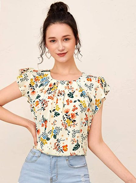 Ruffle Cap Sleeve Pleated Front Top