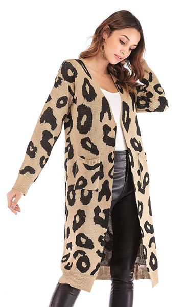 Leopard Print Long Sleeve Soft Sweater Open Front Cardigan Oversized