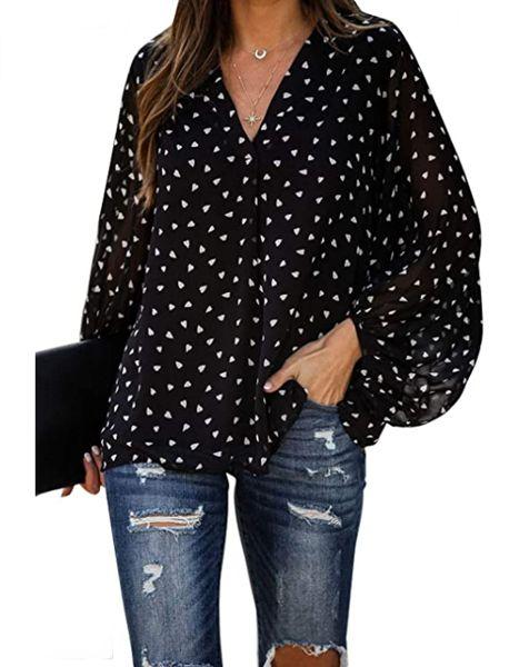 Printed V Neck Lantern Sleeve Blouse Button Down Shirt Top