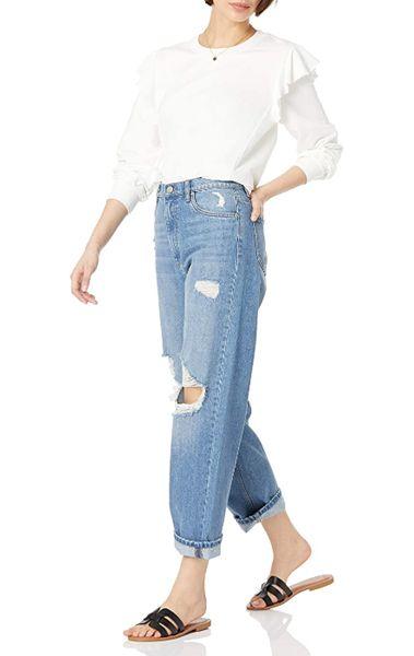 Feminine Tops to Wear with Jeans: Ruffle-Shoulder Sweatshirt Top