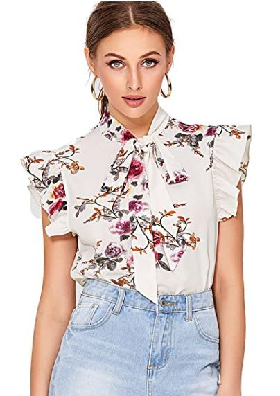 Feminine Tops to Wear with Jeans: Ruffled Short Sleeve Feminine Top