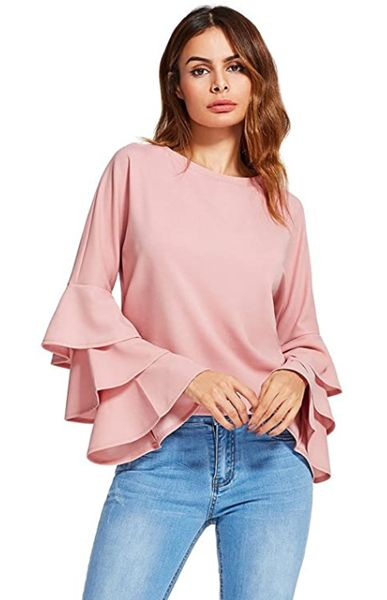 Feminine Tops to Wear with Jeans: Ruffled Sleeve Top