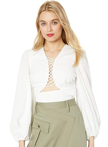 Summer Puff Sleeve Plunging Fashion Top