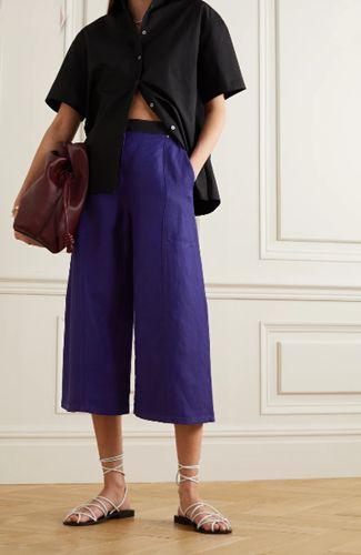 Two-tone-linen-blend-drill-wide-leg-culottes
