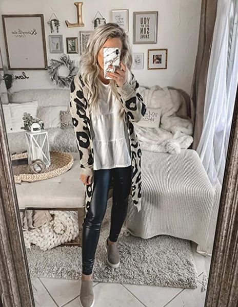 Wear a leopard print cardigan with a White Blouse and Leather Jeggings