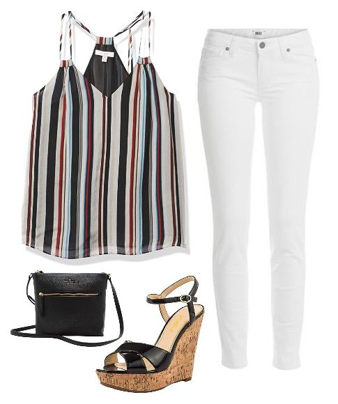 Striped Drawstring Top with white jeans outfit