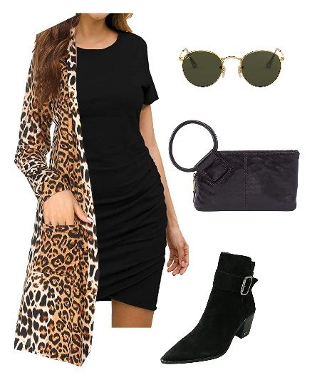 Layer a long leopard print cardigan sweater over a fitted mini dress