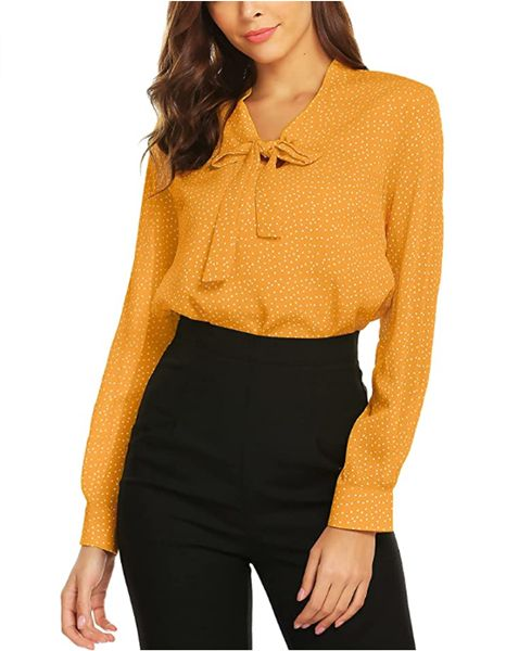 Bow Tie Neck Long Sleeve Blouse