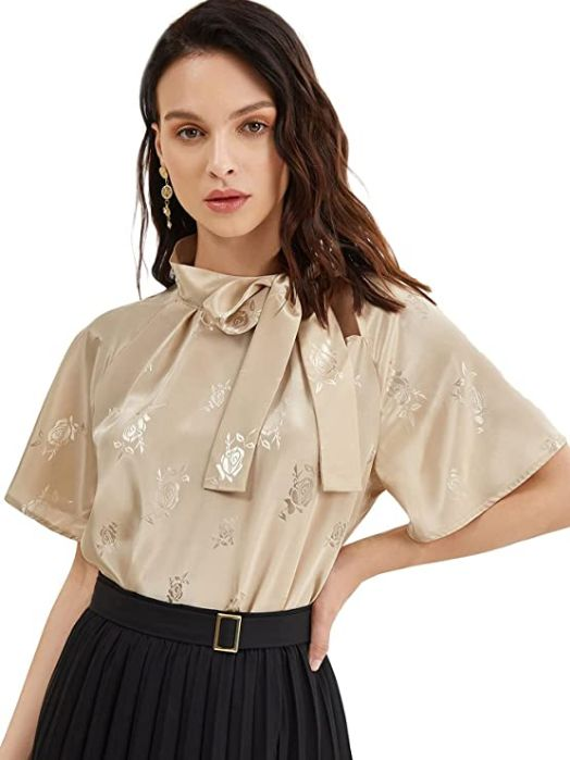 Casual Side Bow Tie Neck Short Sleeve Blouse