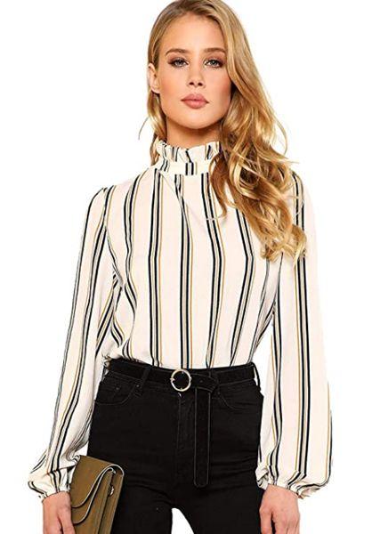 Elegant Printed Stand Collar Long Sleeve Workwear Blouse Top