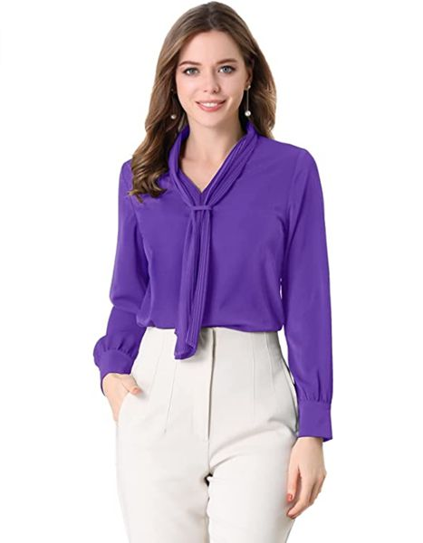 Long Sleeve Blouses Pleated Tie Neck Work Office Top Shirt