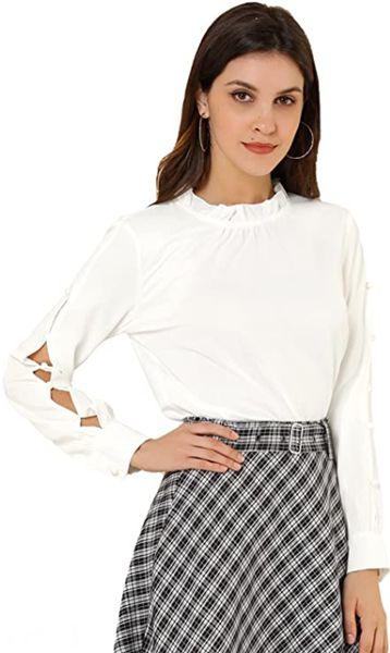 Ruffled Stand Collar Chiffon Blouse Button Decor Office Work Top