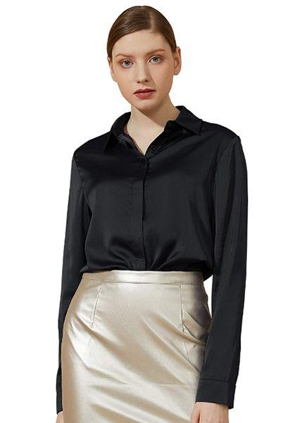 Satin Silk Long Sleeve Button Down Shirt Casual Work Office Silky Blouse