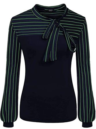 Tie-Bow-Neck-Striped-Blouse-Long-Sleeve-Shirt-Office-Work-Splicing-Blouse