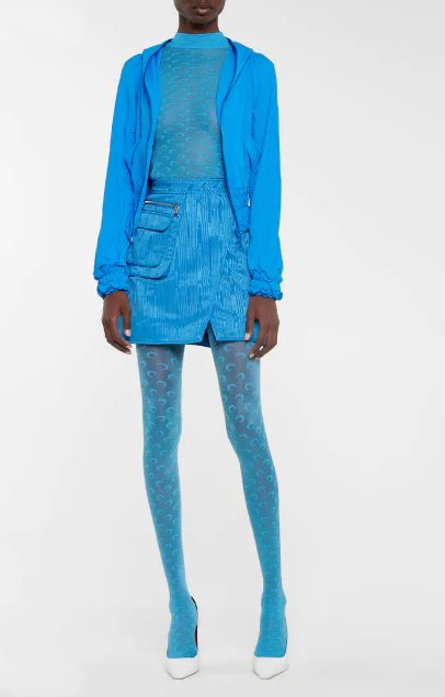 How to Wear Colored Tights: Head-to-Toe Blue